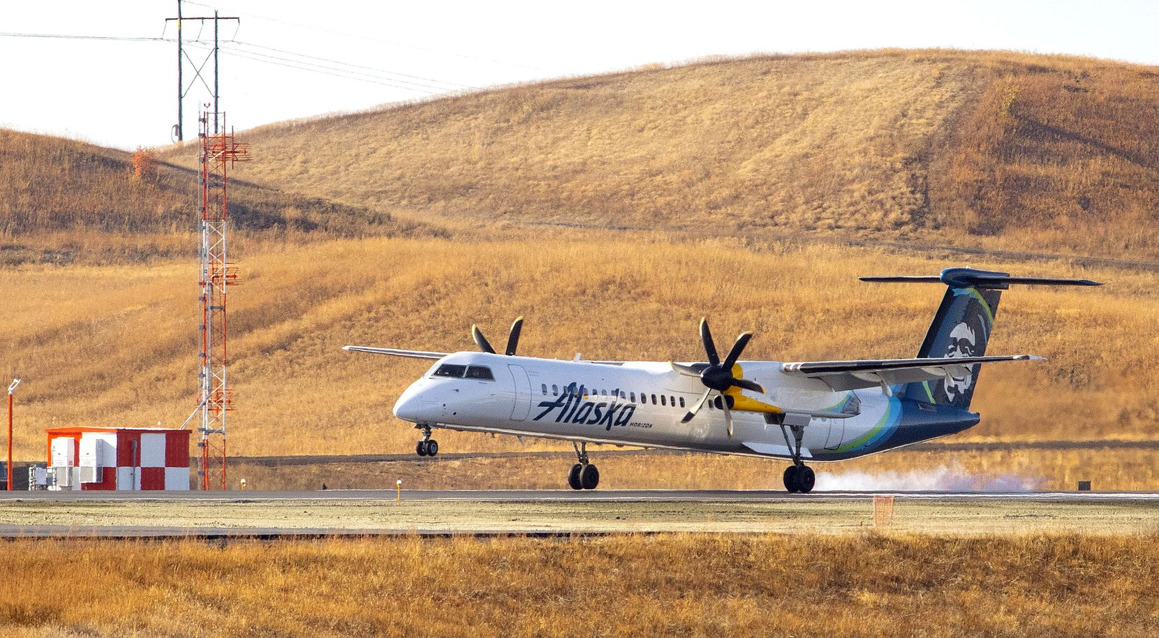 An Alaska Air airplane landed on the new runway before a ribbon-cutting ceremony at the Pullman-Moscow Regional Airport east of Pullman, Wash., in October.