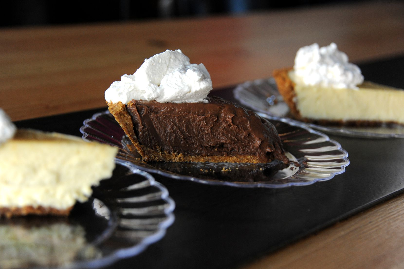 The pies, like this chocolate cream slice, come from Ann Lavine's recipe book. Ann's husband Larry Lavine founded Chili's.