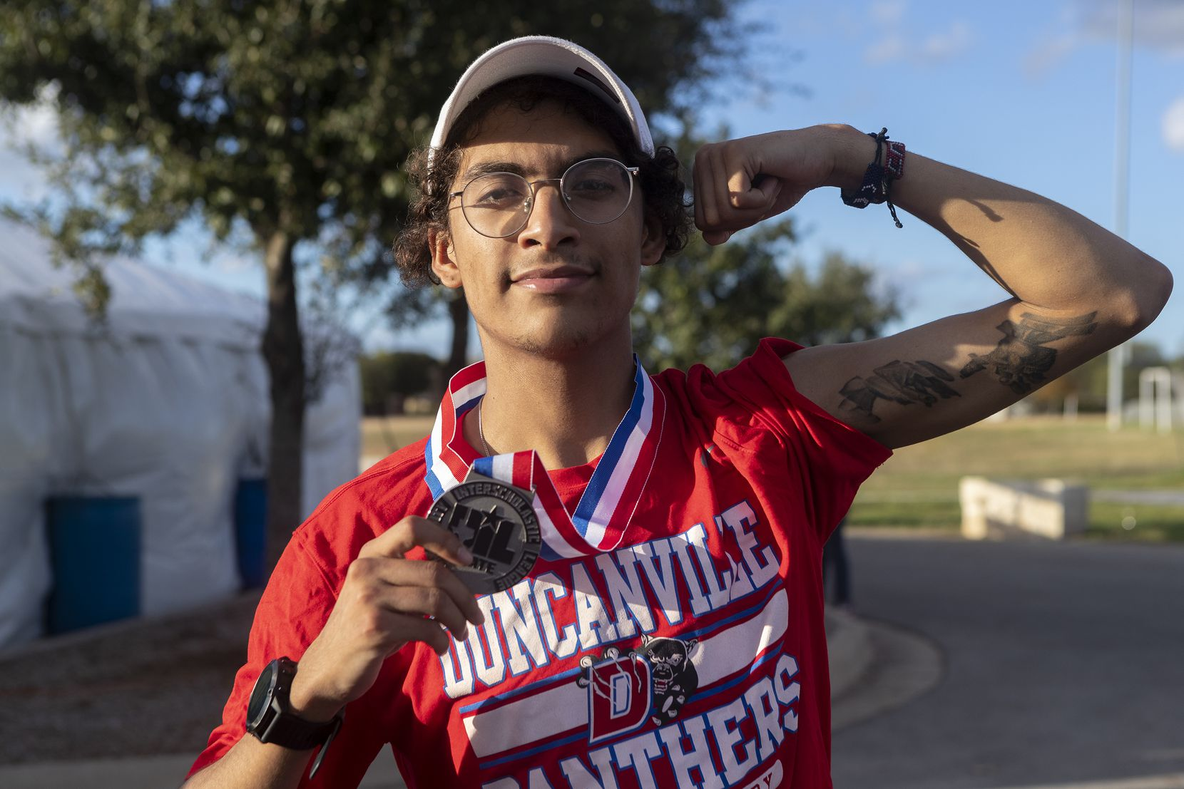 Duncanville's Martin David-Chavez poses for a photo as he celebrates his second place finish in the boys UIL Class 6A state cross country meet in Round Rock, Tuesday, Nov., 24, 2020 (Stephen Spillman/Special Contributor)