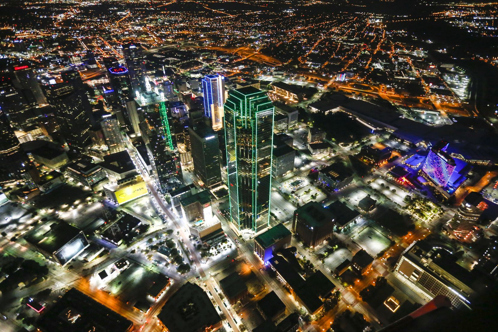 Air One gets a bird's eye view of the Dallas skyline while answering one of the 600 to 700 calls it handles each month.