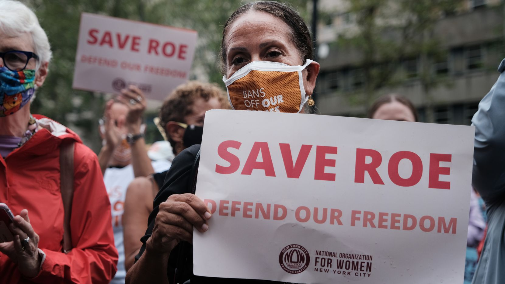 Supporters of abortion rights participate in a rally to denounce Texas' new six-week abortion ban on Sept. 9, 2021, in New York, the same day the Biden Justice Department sued the state, calling the new law unconstitutional.