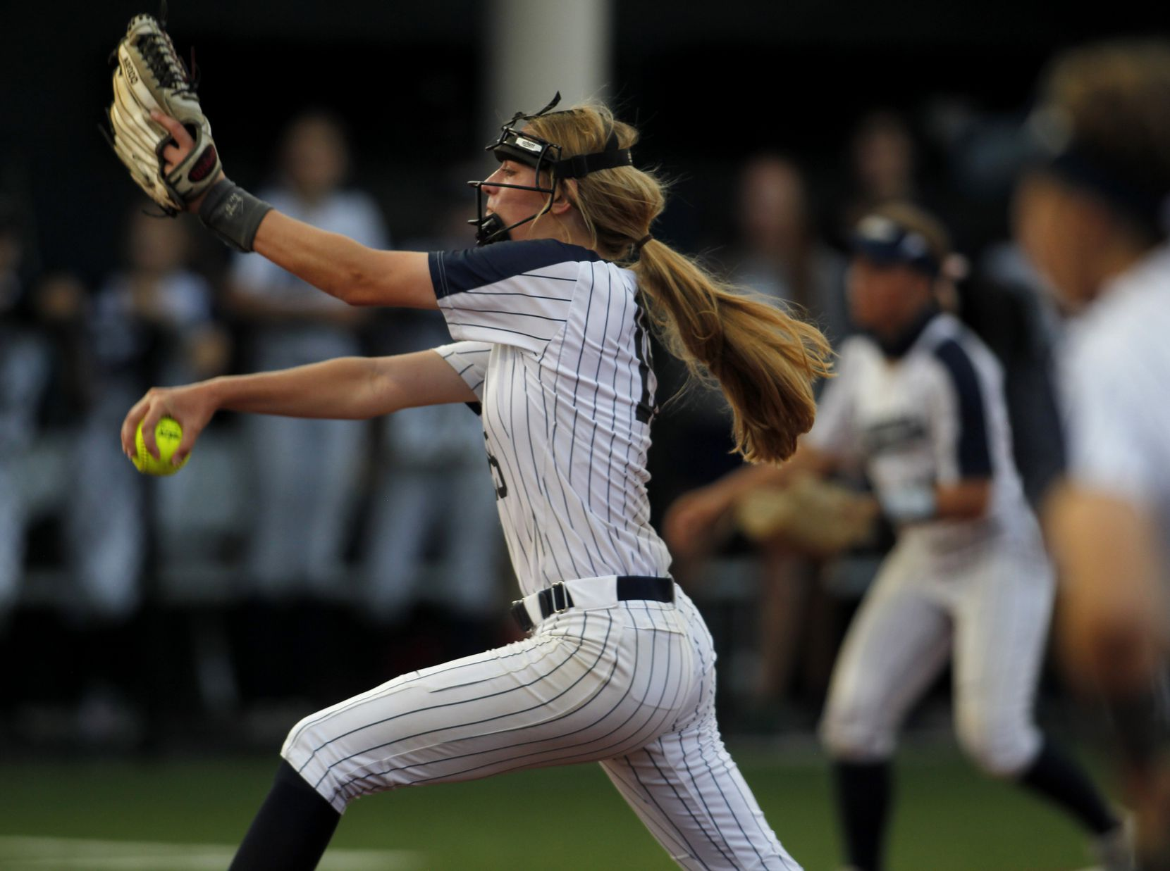 Flower Mound pitcher Landrie Harris (15) delivers a pitch to a Deer Park batter during the top of the 2nd inning of play. The two teams played their UIL 6A state softball semifinal game at Leander Glenn High School in Leander on June 4, 2021. (Steve Hamm/ Special Contributor)