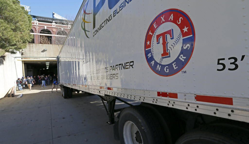 A Texas Rangers' equipment truck leaves Globe Life Park for spring training on Tuesday, Feb. 2, 2016, in Arlington, Texas. (Jae S. Lee/The Dallas Morning News)