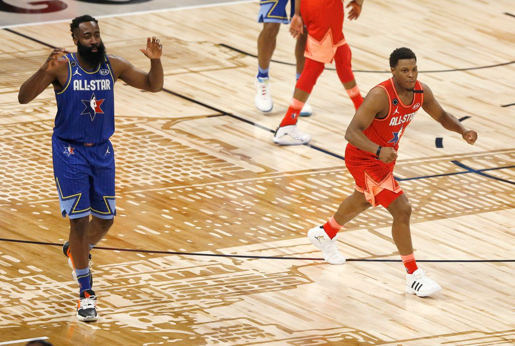 Team Giannis' Kyle Lowry (24) celebrates after Team LeBron's James Harden (2) is called for a charging foul during the second half of play in the NBA All-Star 2020 game at United Center in Chicago on Sunday, February 16, 2020. Team LeBron defeated Team Giannis 157-155. (Vernon Bryant/The Dallas Morning News)