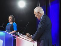 Democratic Senate challenger MJ Hegar, left, and Republican incumbent John Cornyn, shown at their only debate earlier this month, have taken off the gloves in their television advertising as the race winds down.