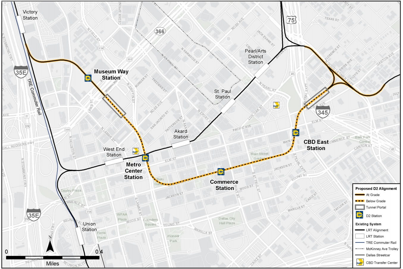 The latest DART map shows D2 coming to street level long after it passes under Interstate 345 on the Deep Ellum side. The city says that likely needs to be rethought.