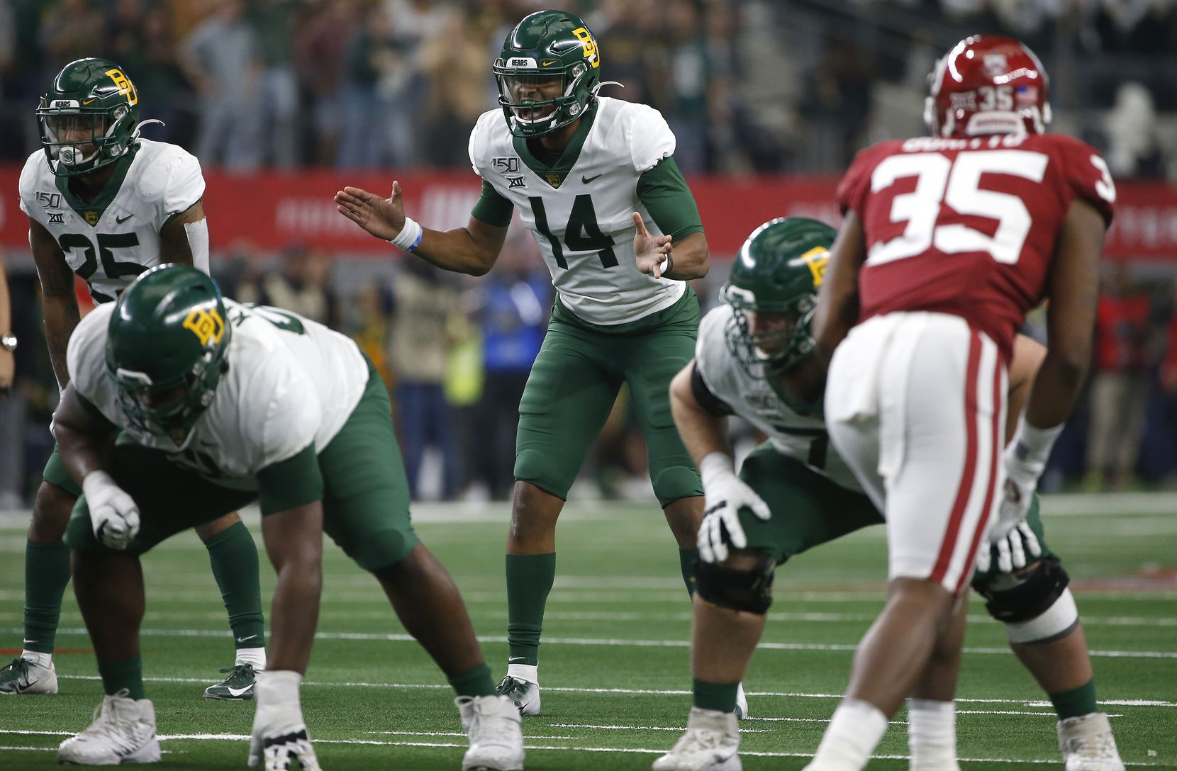 ARLINGTON, TX - DECEMBER 07: Jacob Zeno #14 of the Baylor Bears waits for the snap against the Oklahoma Sooners in the fourth quarter of the Big 12 Football Championship at AT&T Stadium on December 7, 2019 in Arlington, Texas. Oklahoma won 30-23.