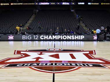 Mar 10, 2016; Kansas City, MO, USA; A general view of the logo center court before the game between the Baylor Bears and Texas Longhorns during the Big 12 Conference tournament at Sprint Center. Mandatory Credit: Denny Medley-USA TODAY Sports