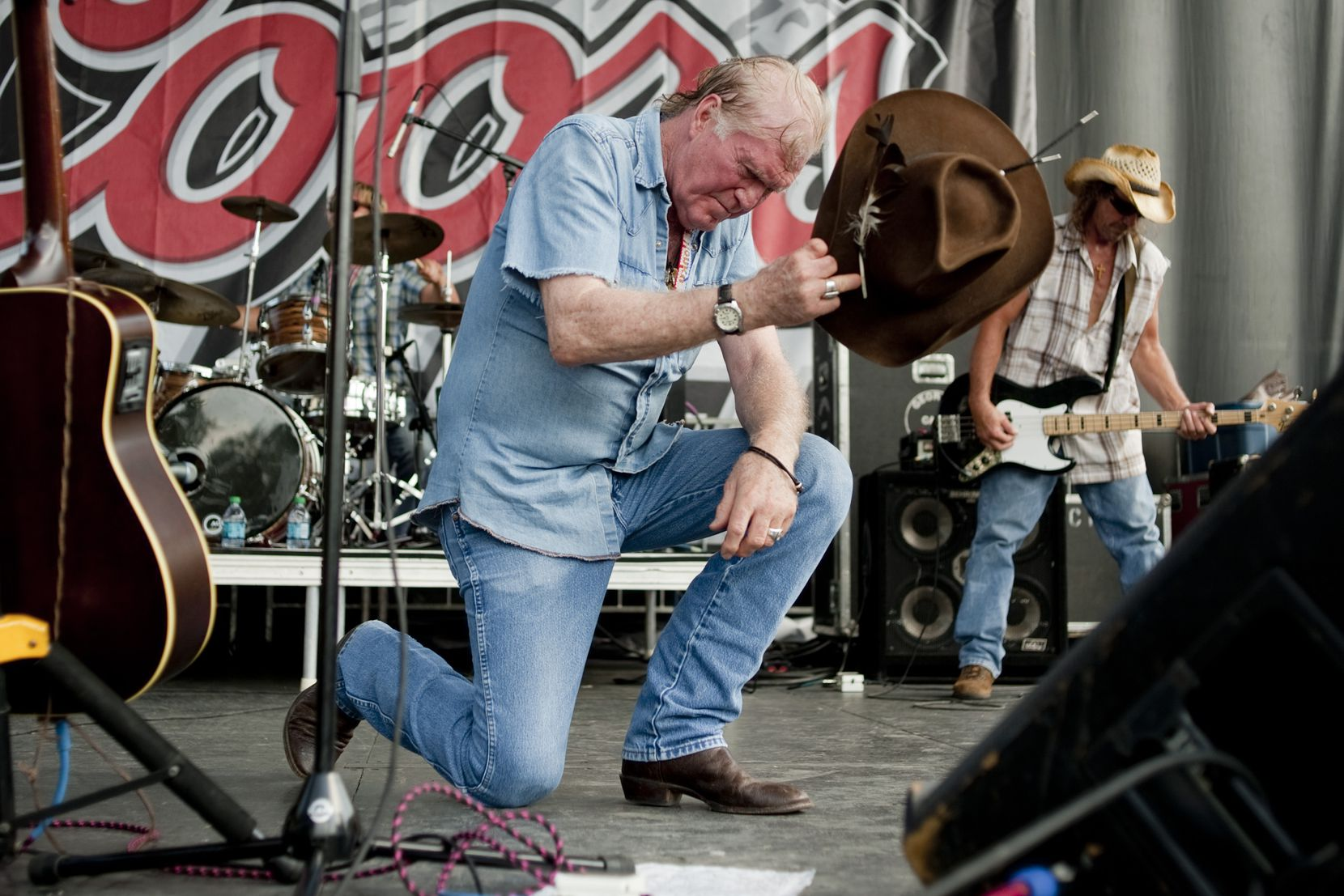 Billy Joe Shaver tips his cowboy hat during his set at Willie Nelson's Fourth of July Picnic at Billy Bob's Texas in Fort Worth in 2012.