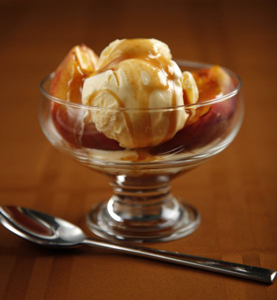 """Grilled Peach Sundaes With Salted Caramel Sauce, from the book """"Just Married & Cooking"""""""