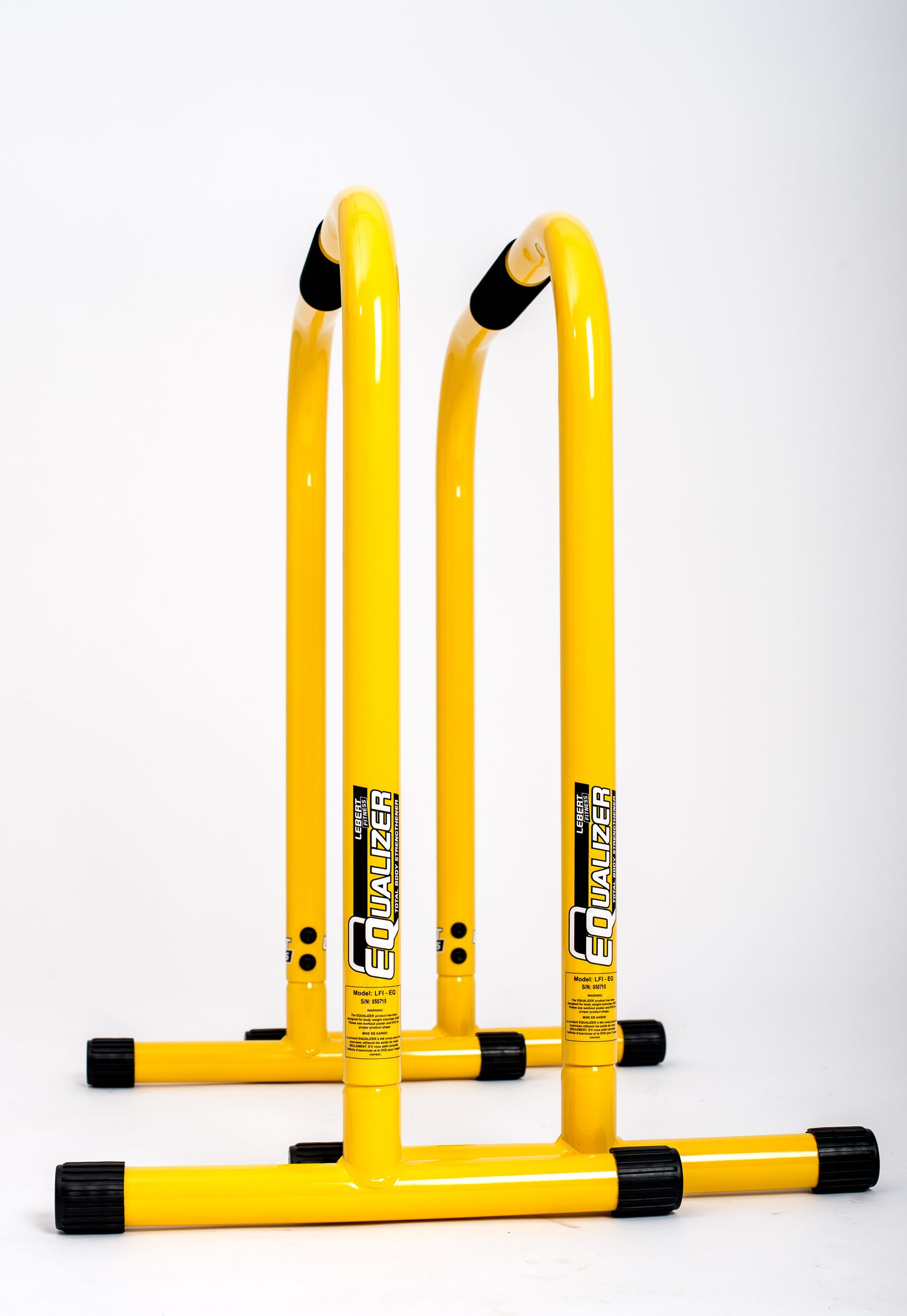 These fun-looking bars are called the Lebert EQualizer and are good to have at home for an indoor workout.