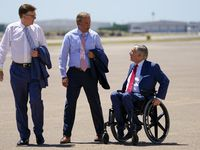 Texas Lt. Gov. Dan Patrick, Attorney General Ken Paxton and Gov. Greg Abbott await the arrival of President Donald Trump at Dallas Love Field on Thursday, June 11, 2020, in Dallas. (Smiley N. Pool/The Dallas Morning News)