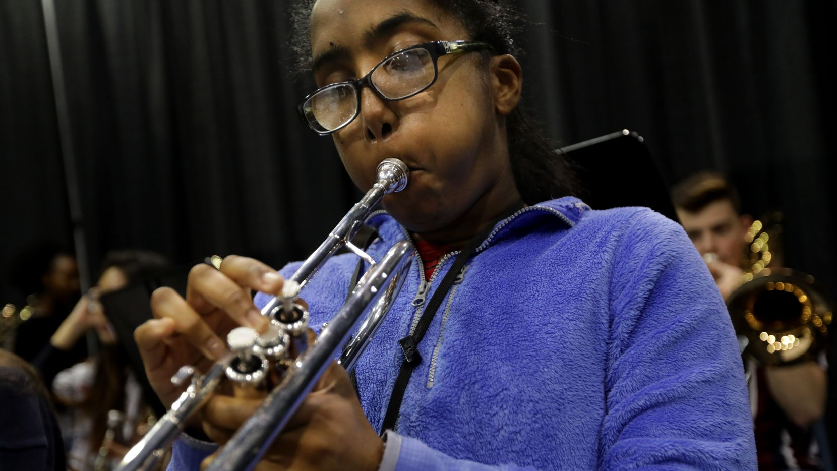 Milka Yohannes practices with the Allen High School band in December. Music will be among the areas included in a series of student-produced videos that will focus on supporting mental and physical health during the coronavirus pandemic.