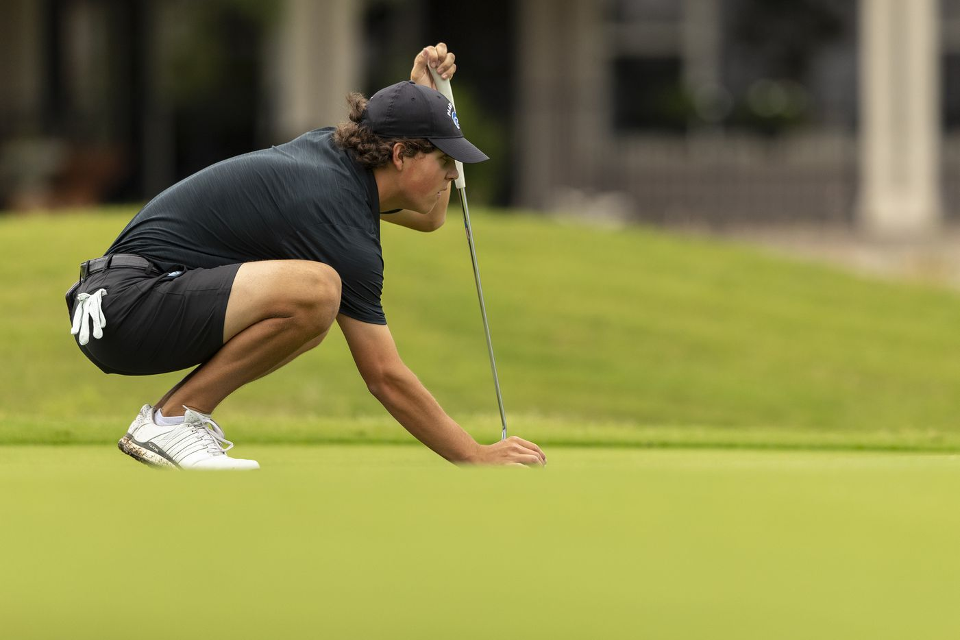 Plano WestÕs Matt Comegys studies his shot on the 6th green during the final round of the UIL Class 6A boys golf tournament in Georgetown, Tuesday, May 18, 2021. (Stephen Spillman/Special Contributor)