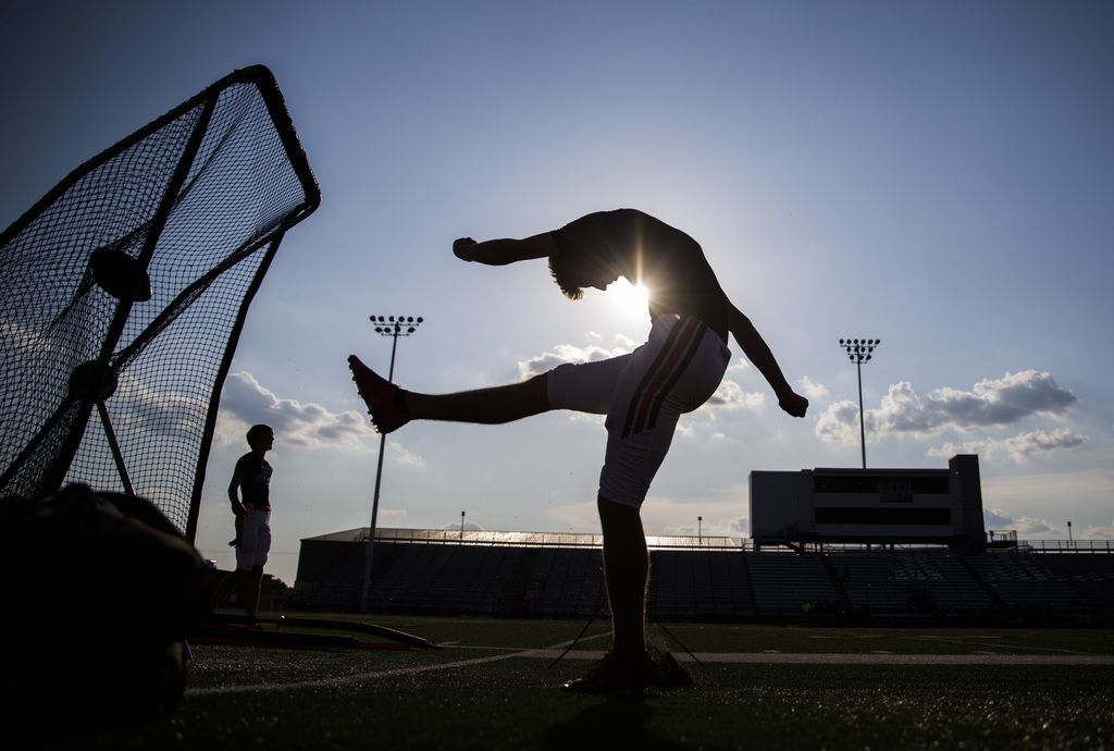 Flower Mound Marcus kickers warm up before a high school football game between Flower Mound Marcus and Arlington Bowie on Thursday, August 29, 2019 at Wilemon Field in Arlington. (Ashley Landis/The Dallas Morning News)