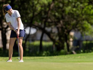 Highland Park's Sophie Biediger putts on the 10th green during round 1 of the UIL Class 5A girls golf tournament in Georgetown, Monday, May 13, 2019. (Stephen Spillman/Special Contributor)