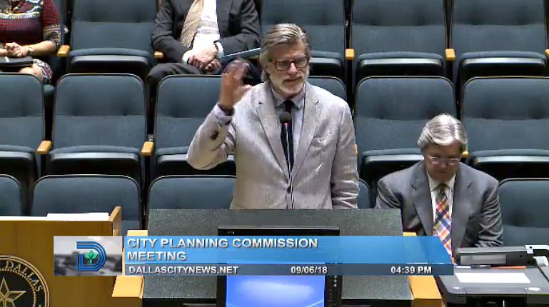 David Taggart, speaking Thursday to the Dallas City Plan Commission about his giant observation wheel