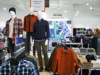 The men's All Day lifestyle moment section of a JCPenney store at North East Mall in Hurst.