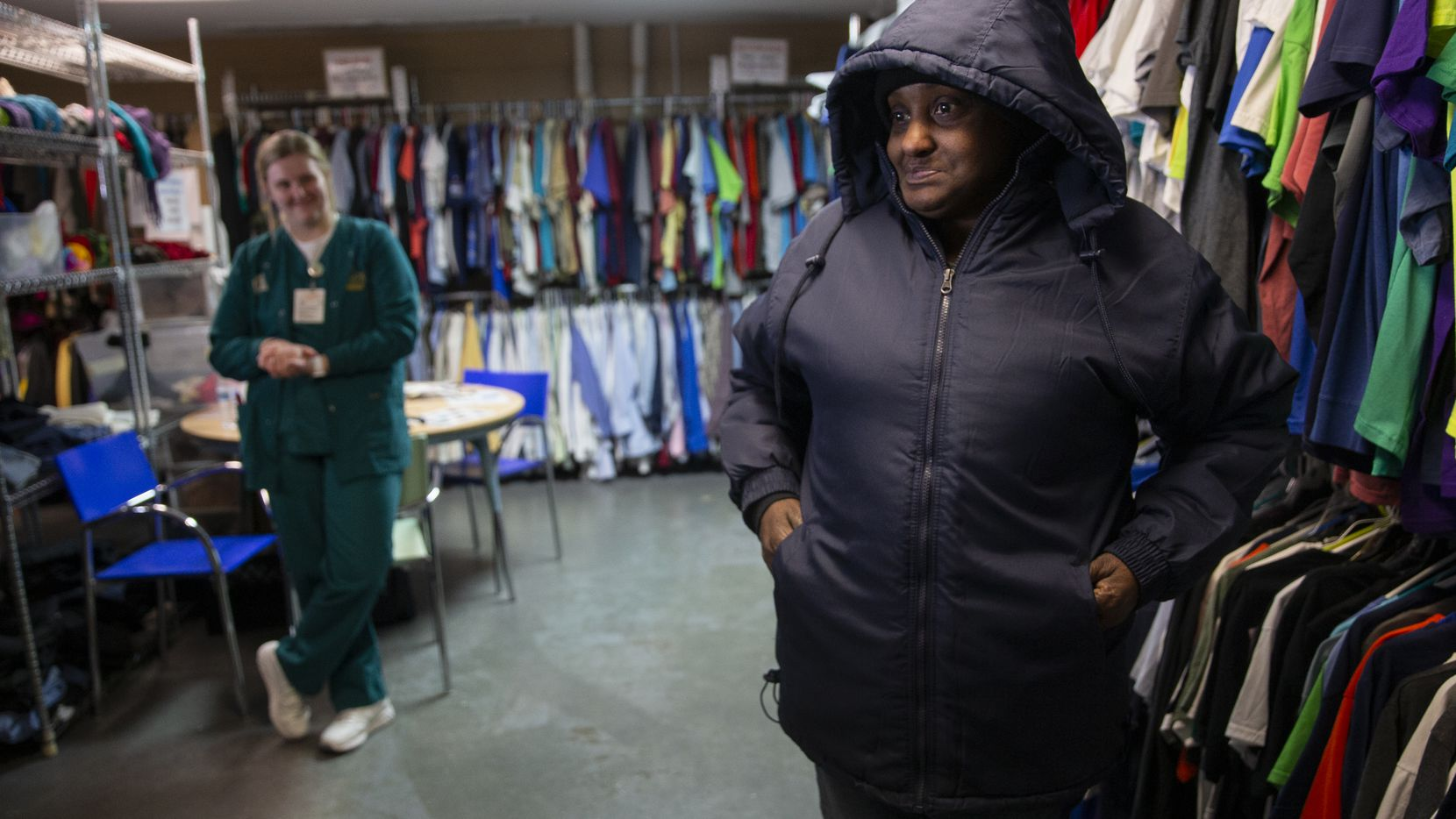 Cecelia Nash  tries on her new jacket from the Cornerstone Baptist Church's Clothes Closet on Dec. 5, 2019 in Dallas. Cornerstone Community Development Corp. was one of 23 nonprofits that received funds from The Dallas Morning News Charities campaign.
