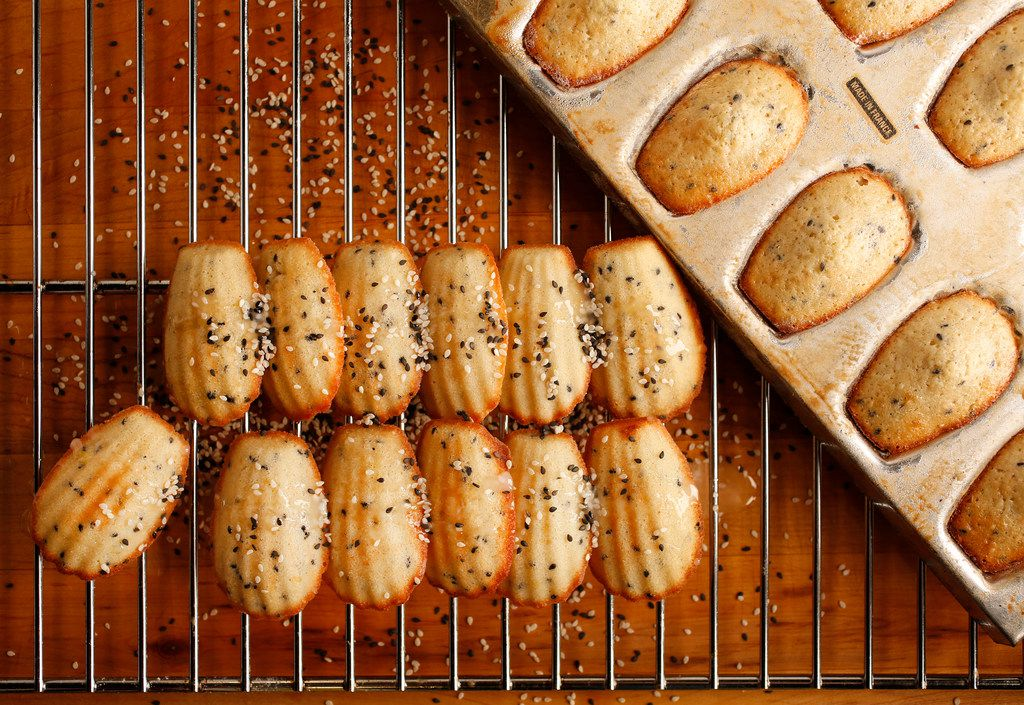 Tuxedo sesame seed madeleines with five-spice powder