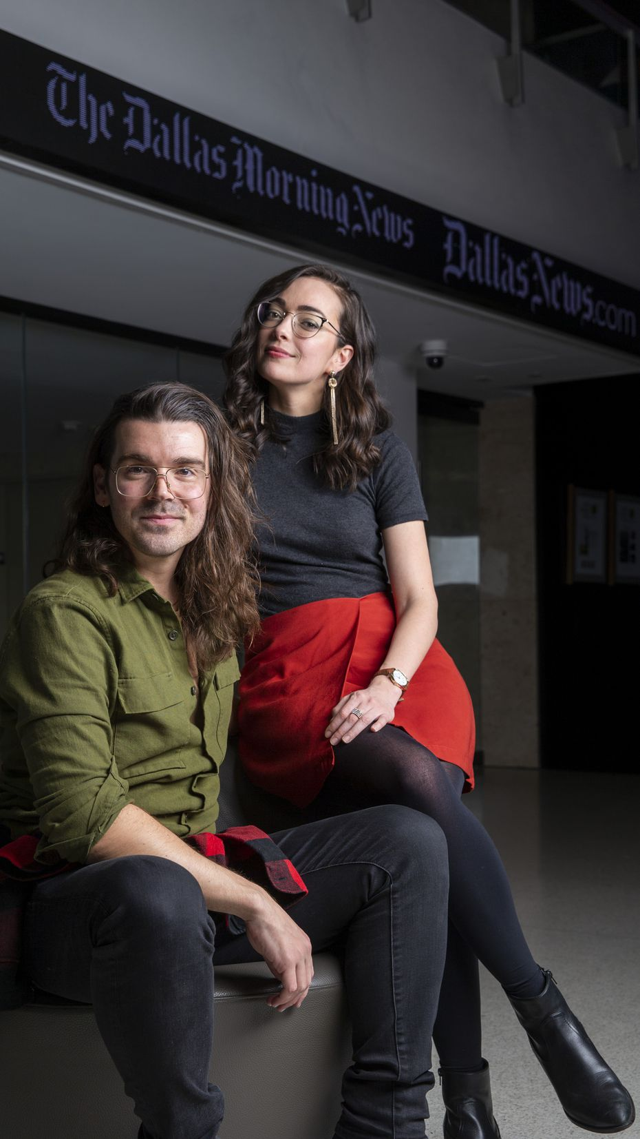 Brigham Mosley, left, and Janielle Kastner wrote 'Playwrights in the Newsroom' after interviewing and shadowing journalists at The Dallas Morning News for two years to gauge the state of American journalism.