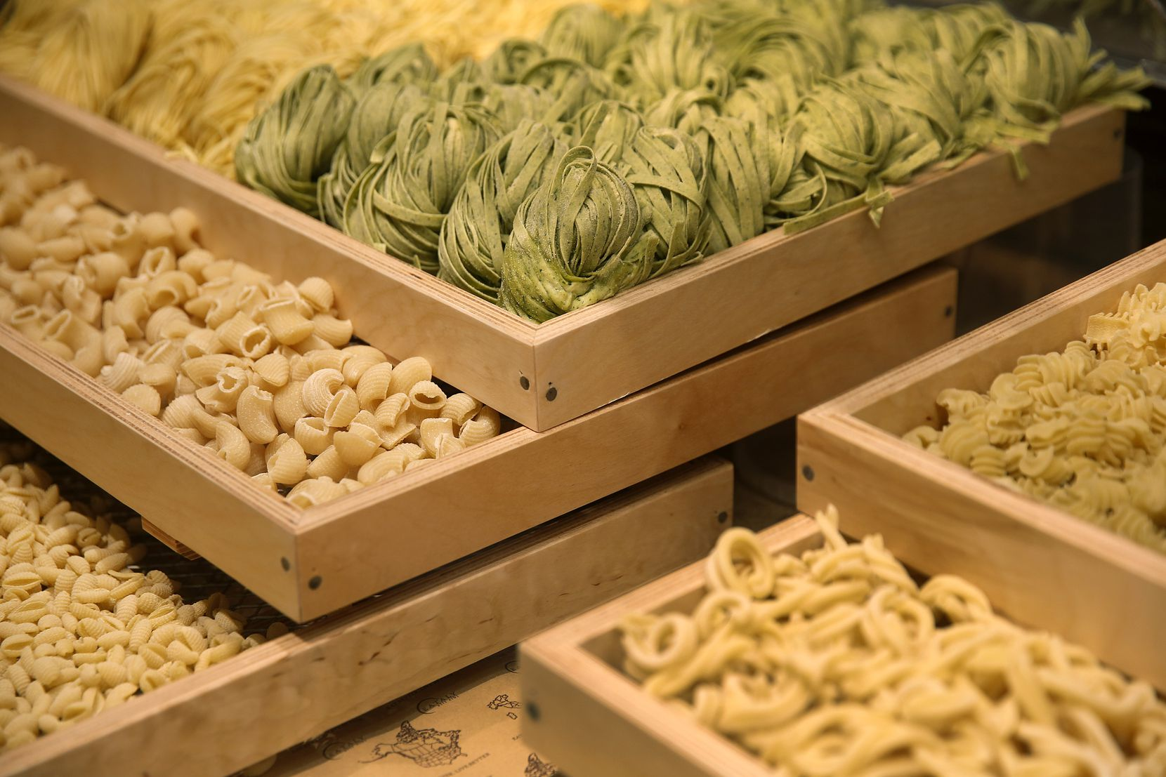 Fresh-made pasta is displayed in the gastronomia cooler inside Texas' first Eataly, opening Dec. 9.