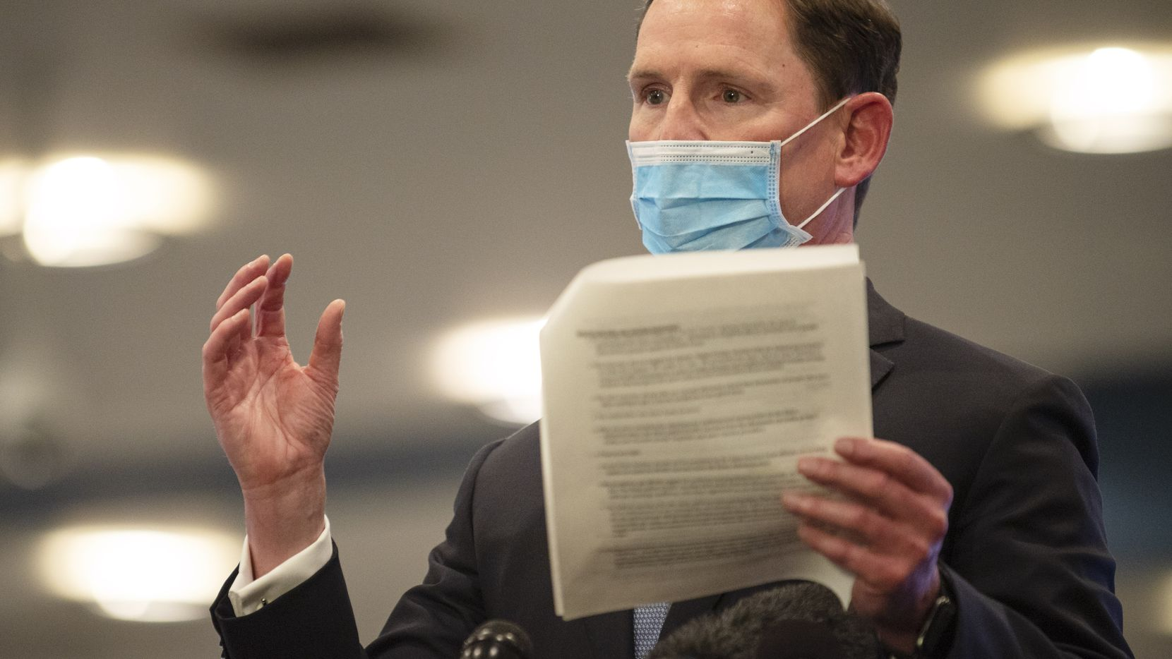 Dallas County Judge Clay Jenkins conducts a press conference about COVID-19 vaccine operations with FEMA, on Tuesday, Feb. 23, 2021 at Fair Park in Dallas.