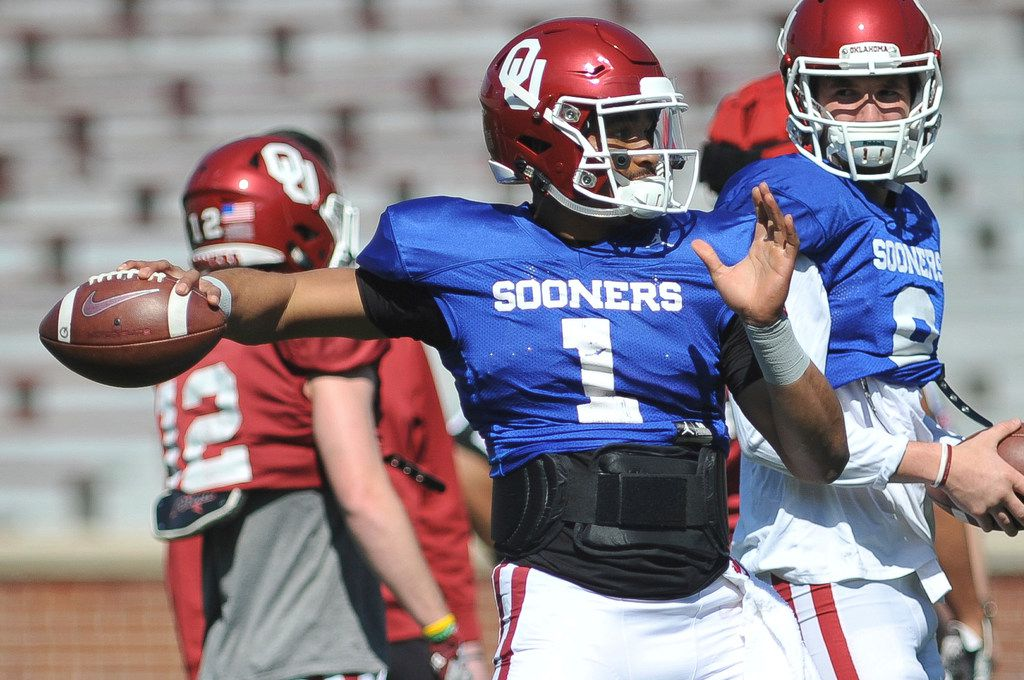 Oklahoma quarterback Jalen Hurst throws during practice in norman, Okla., Monday, April 1, 2019. Jalen Hurts is now at Oklahoma and apparently he is bringing a bit of Nick Saban's process to the Sooners. On the latest AP Top 25 College Football Podcast, George Schroeder of USA Today joins AP's Ralph Russo to talk about the transition from Alabama to Oklahoma for Hurts. (Kyle Phillips/The Norman Transcript via AP)