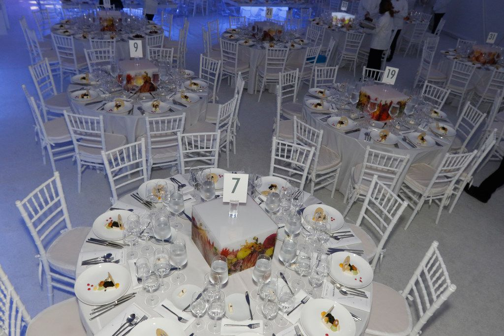 A table setting at the TWOxTWO for AIDS and Arts event at the Rachofsky House in Dallas on Oct. 27, 2018.