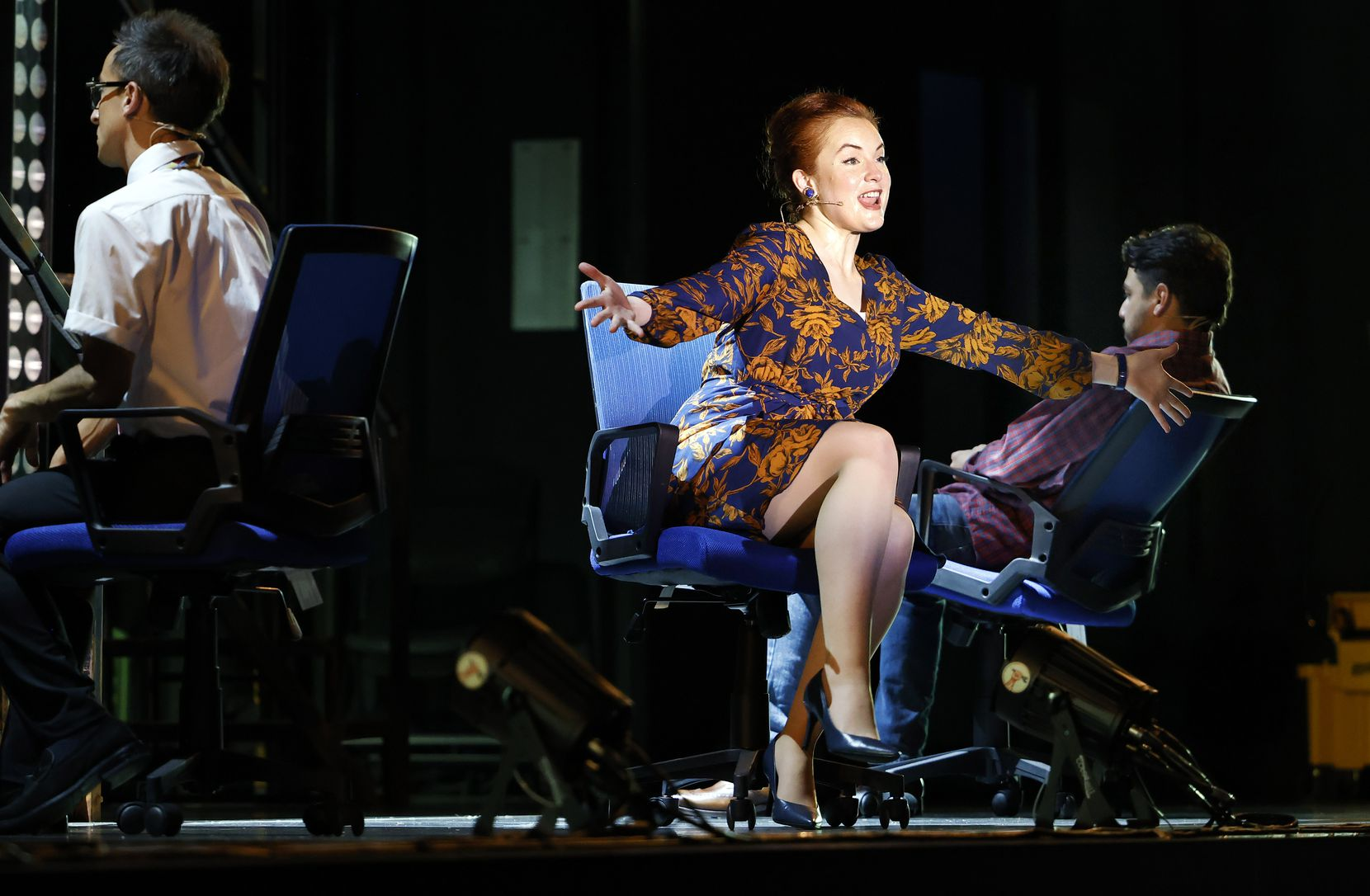 Molly Searcy (center) performs a scene from the Dallas Theater Center's
