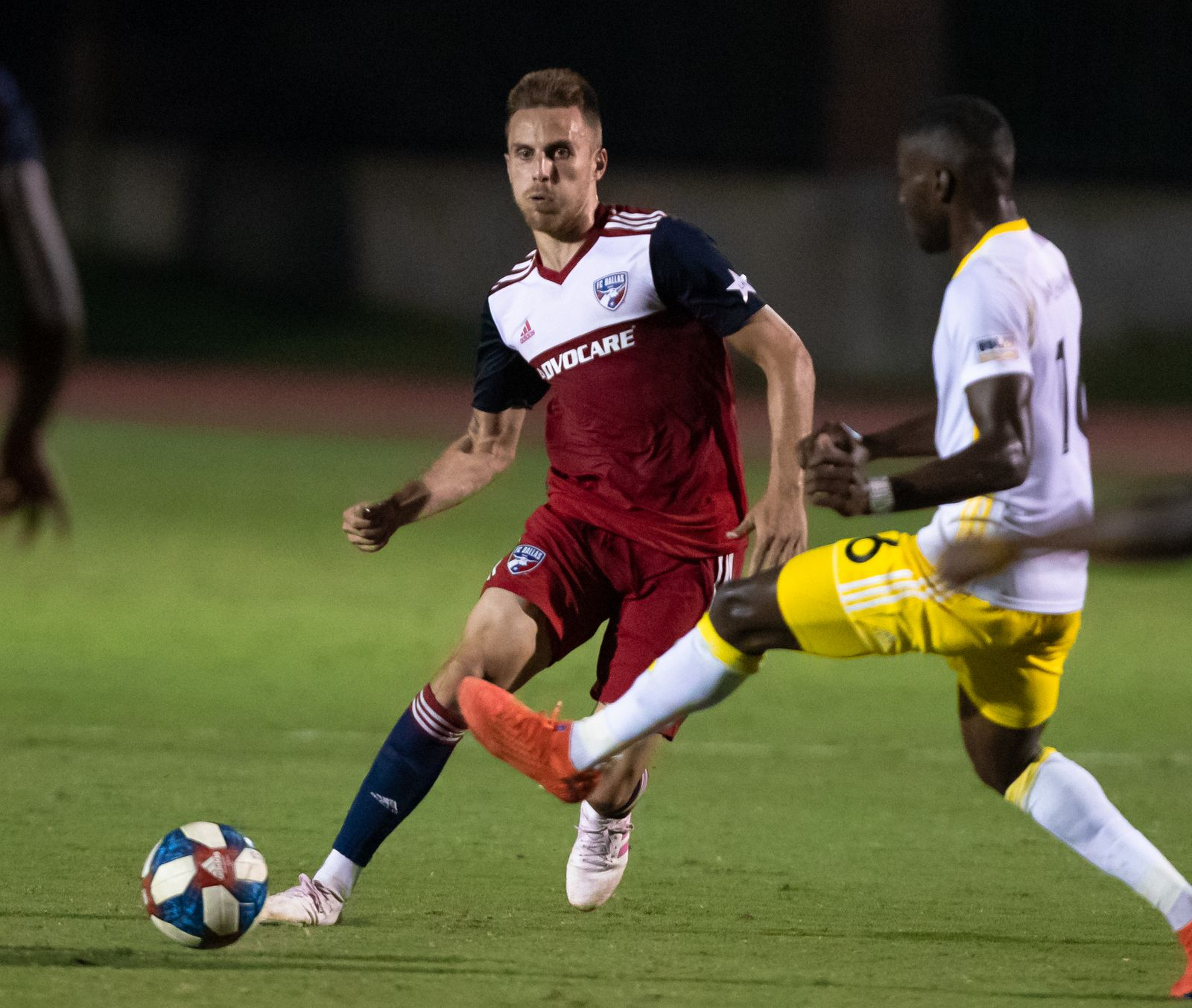 DALLAS, TX - JUNE 19: Bressan in action during the Lamar Hunt U.S. Open Cup round of 16 soccer game between FC Dallas and New Mexico United on June 19, 2019 at Westcott Field in Dallas, Texas.  (Photo by Matthew Visinsky)