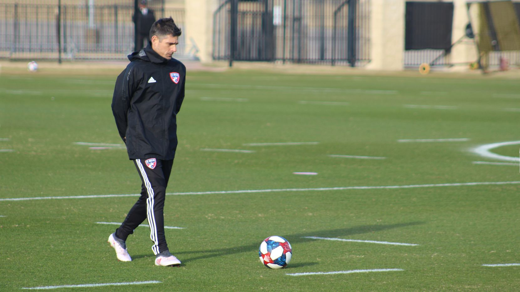 January 21, 2019 (Frisco, TX): Luchi Gonzalez paces the field during FC Dallas' opening practice of the 2019 Major League Soccer season.