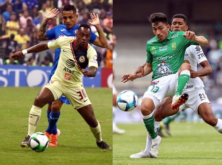 Renato Ibarra del América se enfrenta a su compatriota ecuatoriano Ángel Mena del León en la semifinal de la Liga MX. AGENCIA REFORMA