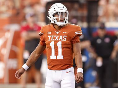 Texas Longhorns quarterback Casey Thompson (11) played in the second half against the Louisiana-Lafayette Ragin Cajuns at DKR-Texas Memorial Stadium in Austin, Saturday, September 4, 2021. Quarterback Hudson Card played in the first and part of the second half.