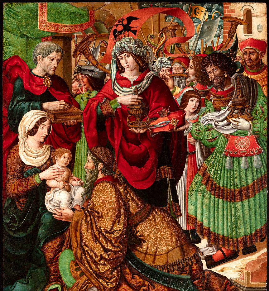 Adoration of the Maji, circa 1519, by Master of Sigena (Spanish, act. c. 1510-1520) Oil on panel. Meadows Museum, SMU, Dallas. The museum purchase was made with funds from the Meadows Foundation, with additional support provided by Susan Heldt Albritton, Gwen and Richard Irwin and Catherine Blaffer Taylor.
