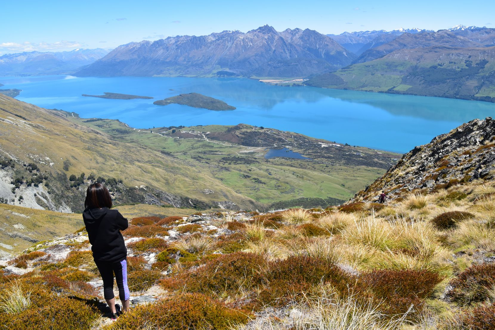 Lake Wakatipu, viewed from the top of Mount Judah near Glenorchy, owes its brilliant blue hue to glacial silt.