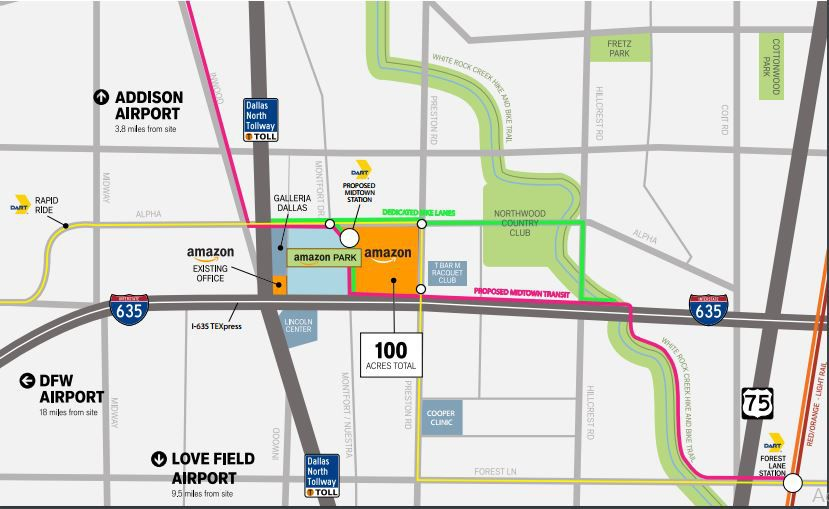 Proposed Midtown development is one of several locations trying to be the home of Amazon HQ2. This site is at the former Valley View Mall location in North Dallas. Land owners and developers include Beck Ventures, EF Properties, Seritage, Crescent, Hillwood Urban and KDC. The proposed DART train shown on the map would cross through the property and hook up with another proposed east-west train on the existing Cotton Belt tracks. That line would go from downtown Plano to DFW International Airport.