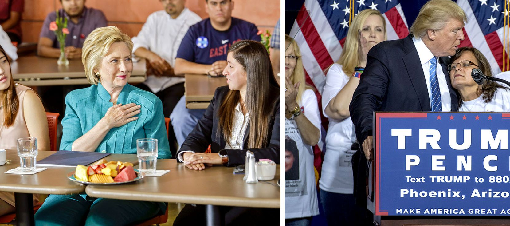 Left: Hillary Clinton discusses immigration policy in June in Sylmar, Calif., with Clara Kim (left) and Italia Garcia. Right: Donald Trump, giving an immigration platform speech in Phoenix, is surrounded by parents who lost their children to violence that they say was caused by unauthorized immigrants.