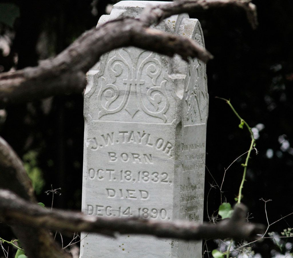 One of several tombstones located in the Mooneyham Sparkman Cemetery in northwest Dallas, in the shadow of the Green Line near Denton Drive