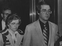 "In this 1980 file photo, Candace ""Candy"" Montgomery and her husband, Pat, leave an elevator in the Collin County Courthouse in McKinney after her murder trial was turned over to the jury. Montgomery was found innocent of murdering her neighbor, Betty Gore, after pleading self-defense."
