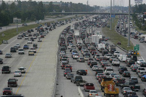 Heavy traffic flows northbound out of Houston on Interstate 45 on both sides of the highway as people evacuate the Galveston and Houston areas before Hurricane Rita hit in 2005.