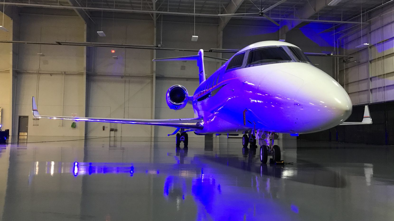 A Gulfstream G650 parked in a hangar at Fort Worth Alliance Airport on Feb. 20, 2020.