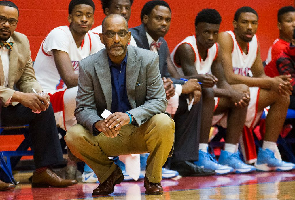 Skyline coach Paul Graham watches from the sideline during the Thanksgiving Hoopfest in 2016. (Smiley N. Pool/The Dallas Morning News)