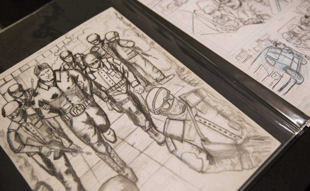 Los bocetos de El Peso en el escritorio de Héctor Rodríguez.
