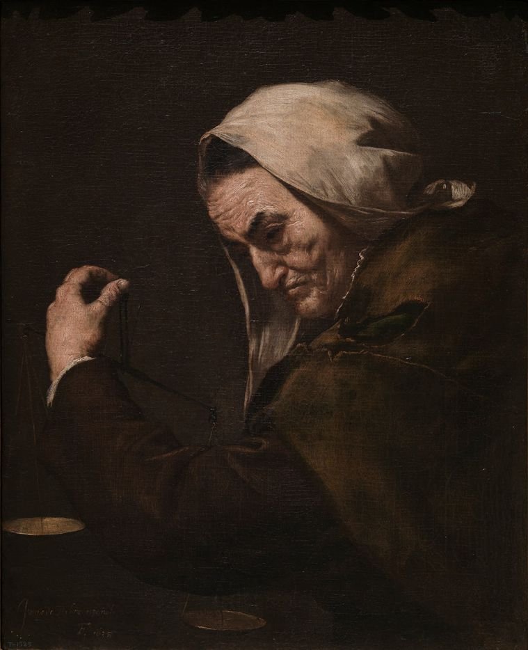 Jusepe de Ribera (Spanish, 1591-1652), The Old Usurer, 1638. Oil on canvas. Museo Nacional del Prado, D6015.  Between Heaven and Hell: The Drawings of Jusepe de Ribera March 12 – June 11, 2017
