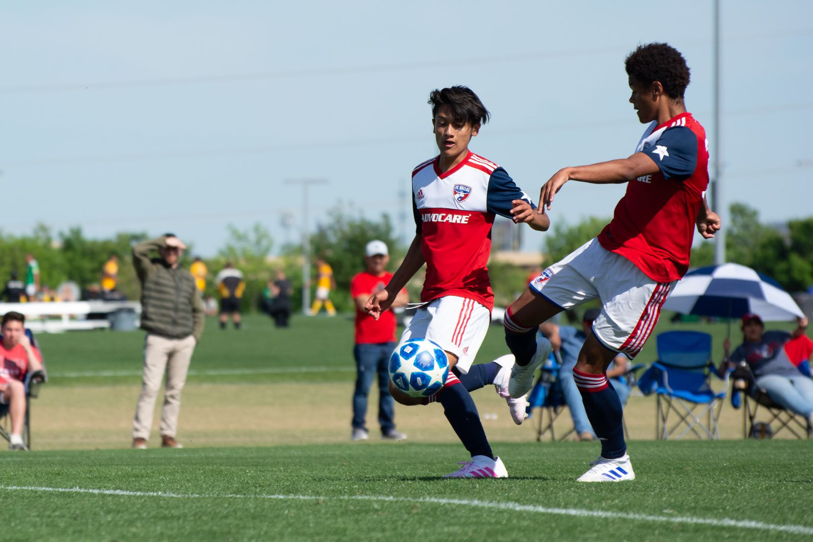 Jordan James of FC Dallas shoots for one of his three goals against Ikapa United in the 2019 Dallas Cup Super 14s.