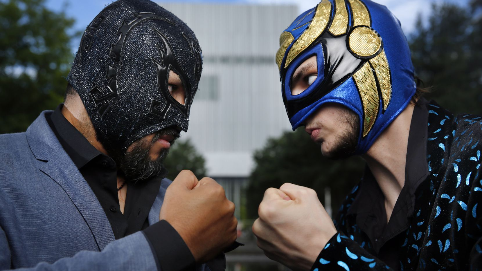 """""""Lucha Teotl"""" cast member Dylan Cantu as the masked luchador Huitzi, right, goes nose to nose with veteran wrestler Aski the Mayan Warrior, the show's fight coordinator."""