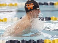 Wakeland's Alex Alex Udrys in the breaststroke for 200 Yard Medley Relay. UIL boys 5A swim finals on Saturday, Feb.27,2021 at Bill Walker Pool and Josh Davis Natatorium