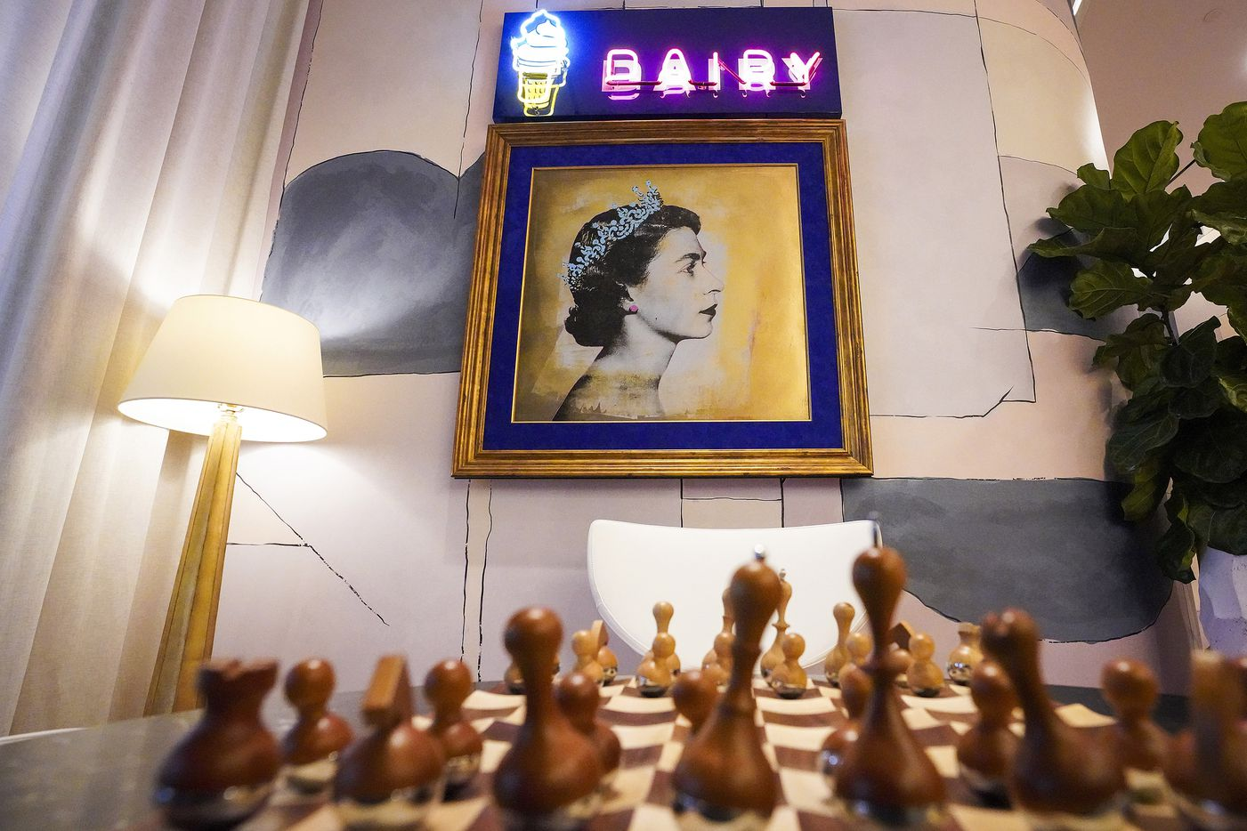 Artwork and a chess set in the lobby at the new the Virgin Hotels Dallas on Monday, Dec. 16, 2019, in Dallas. The newly built hotel is at 1445 Turtle Creek in the Dallas Design District.