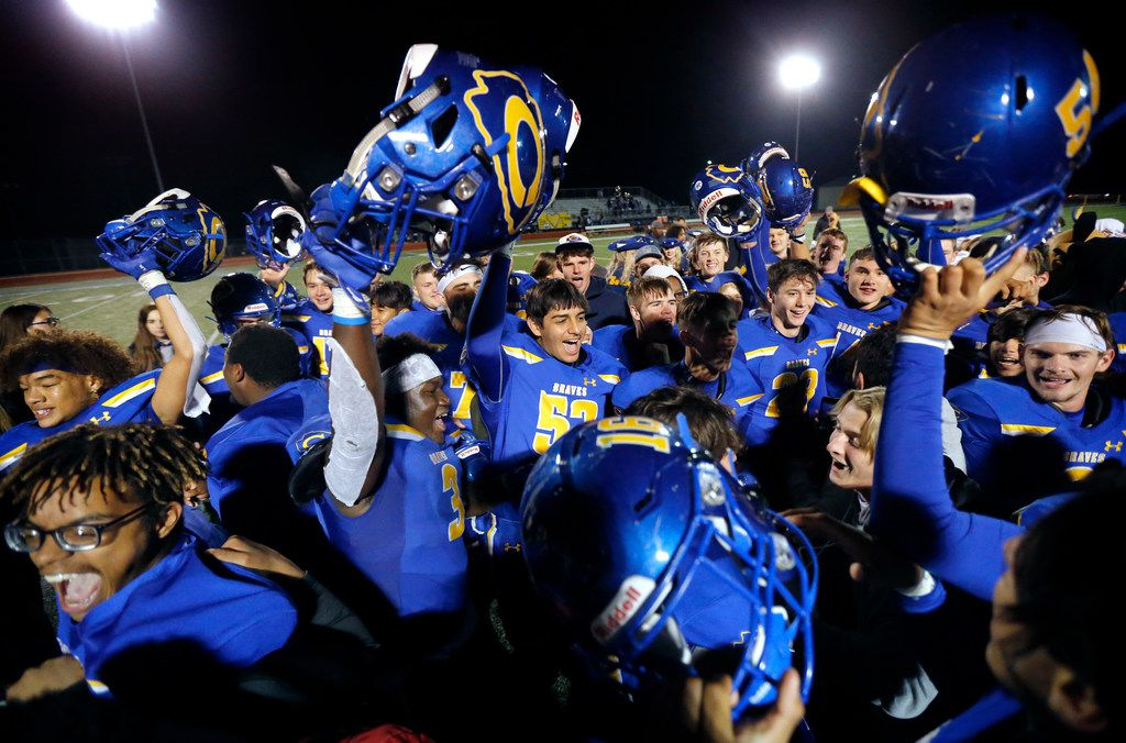 The Community High football team and students celebrate their win over Dallas Roosevelt at Community ISD Stadium in Nevada, Texas, Friday, November 8, 2019. Community defeated Roosevelt to advance to the playoffs.